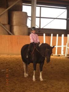 Das Lieblingspferd im Reitunterricht gefunden.